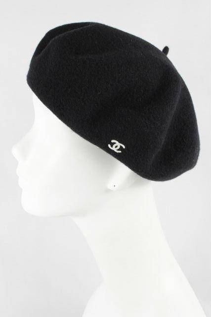 シャネル [ CHANEL ] ★フランス製★ ヴィンテージ ベレー帽 ブラック黒 SIZE[57] レディース ココマーク 帽子