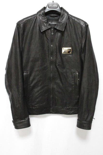 ドルチェ&ガッバーナ [DOLCE&GABBANA] レザー ライダースジャケット ブラック 黒 SIZE[48 M相当] メンズ ドルガバ ブルゾン ジャンパー ジャンバー