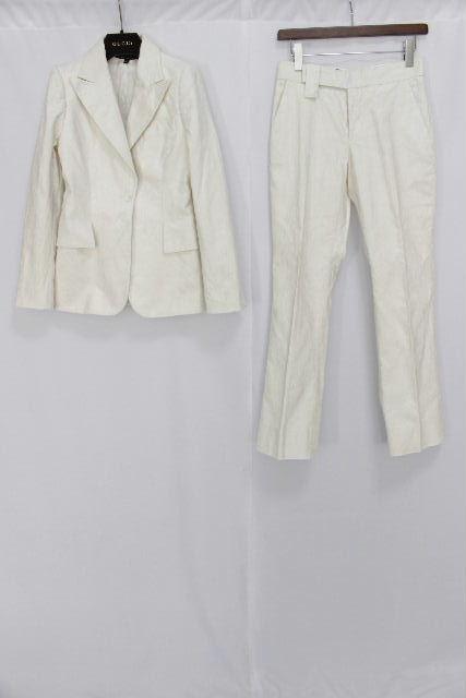 グッチ [ GUCCI ] コーデュロイ セットアップ スーツ ホワイト 白 SIZE[XS相当] レディース ジャケット パンツ