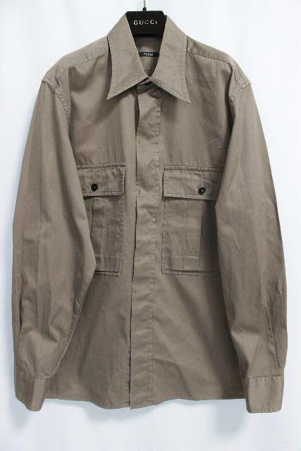 グッチ [ GUCCI ] ビッグシルエット カーゴ シャツ ジャケット SIZE[43/17] メンズ トップス ベージュ カーキ系 長袖