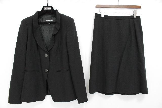 ジョルジオアルマーニ [ ARMANI ] フリル ウール セットアップ スーツ ブラック 黒 SIZE[40] レディース アルマーニ ジャケット フレアースカート