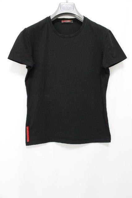 プラダスポーツ [ PRADA ] ストレッチ カットソー ブラック 黒 半袖 SIZE[L] レディース プラダ トップス Tシャツ