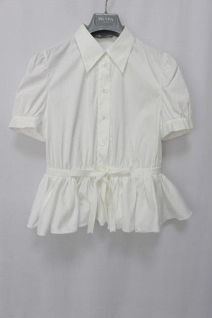 プラダ [ PRADA ] フリル リボン ストレッチ シャツ ホワイト 白 半袖 SIZE[38] レディース トップス シャツ