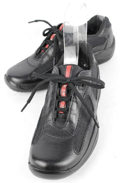 プラダスポーツ [ PRADA ] メッシュ レザー スニーカー ブラック 黒 SIZE[36] レディース プラダ シューズ