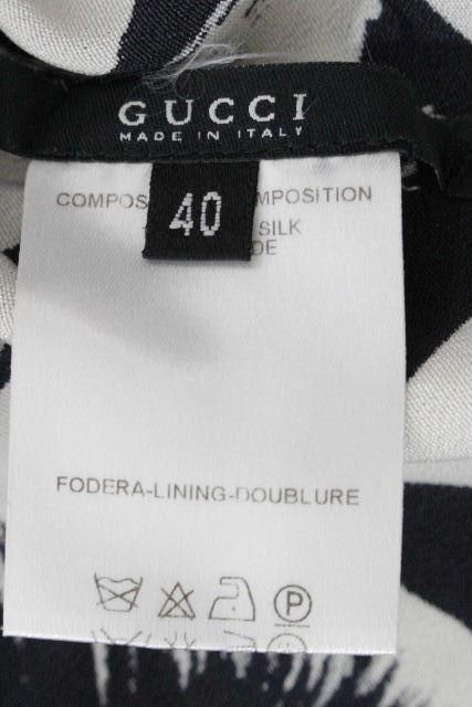 グッチ [ GUCCI ] ロゴ フレアー ワンピース ホワイト ブラック SIZE[40] レディース ワンピ 黒 白
