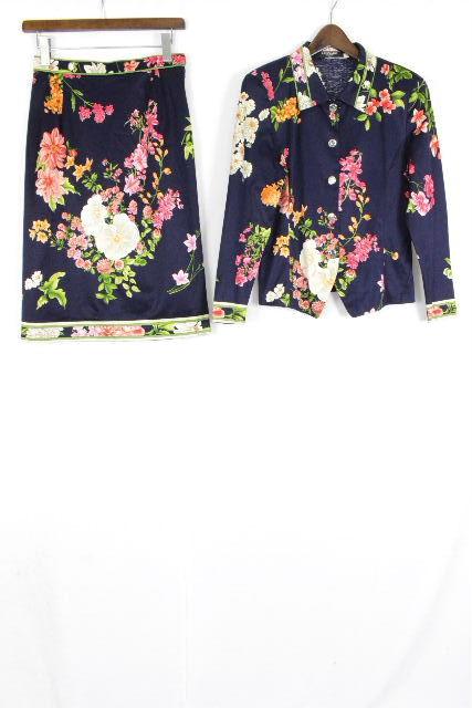 レオナール [ LEOMARD ] フラワー セットアップ ワンピース ネイビー 紺色 SIZE[M] レディース カーディガン ジャケット スカート 花柄