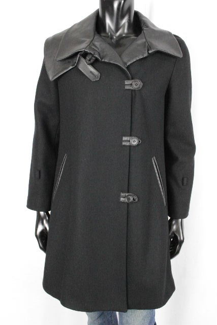 エンポリオアルマーニ [ ARMANI ] 切り替え レザー ウールコート ブラック 黒 メンズ アルマーニ アウター
