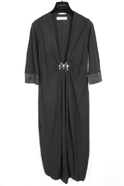 ヴァレンティノ [ VALENTINO ] ファーストライン装飾フレアーワンピース ブラック SIZE[44] レディース ロングワンピ ドレス
