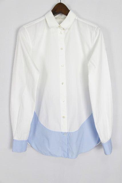 セリーヌ[CELINE] バイカラー シャツ ブラウス ホワイト 白 長袖 SIZE[36] レディース トップス