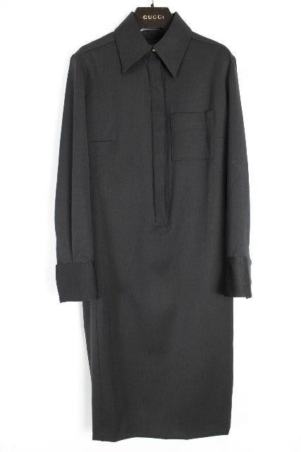 グッチ [ GUCCI ] ウール シャツ ワンピース ブラック 黒 長袖 SIZE[38] レディース ストレッチ ワンピ