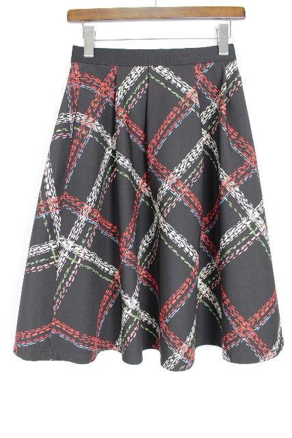 エムズグレイシー [ M'S GRACY ] カメリア リボン チェック柄 フレアースカート SIZE[38] レディース ボトムス スカート