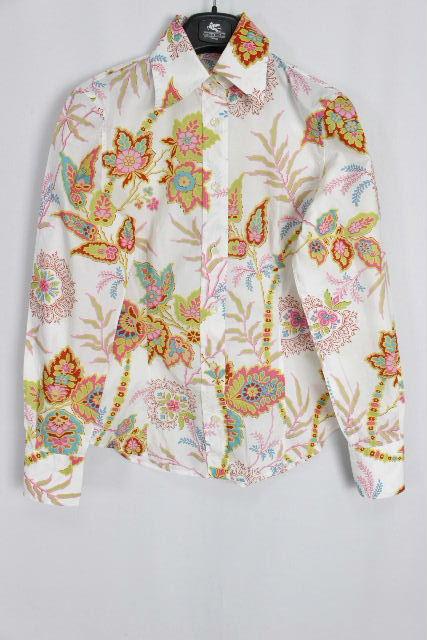 エトロ [ ETRO ] フラワー カジュアルシャツ ホワイト 白 長袖 SIZE[42] レディース トップス ブラウス 花柄