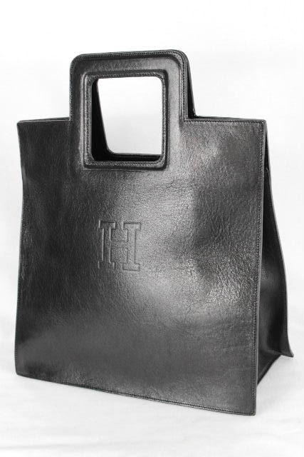 ヒロフ[ HIROFU ] Hロゴ レザー トートバッグ ブラック 黒 レディース メンズ ハンドバッグ