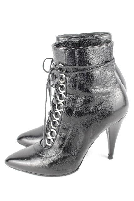 サンローランパリ[SaintLaurent] 編み上げ レザー ショートブーツ ブラック 黒 SIZE[36.5] レディース サンローラン パンプス ブーツ