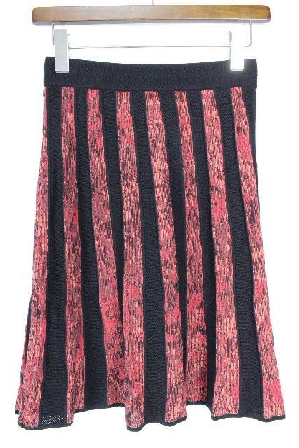 ミッソーニ[MISSONI] ストライプ柄 ニットスカート ブラック 黒 SIZE[38] レディース ボトムス フレアースカート スカート