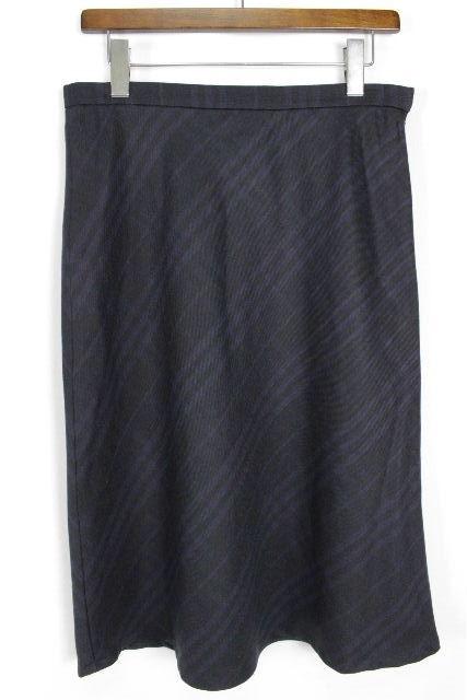 バーバリーロンドン[BURBERRY] チェック柄 フレアースカート ネイビー SIZE[UK12 USA10] レディース バーバリー ボトムス ウール ロングスカート