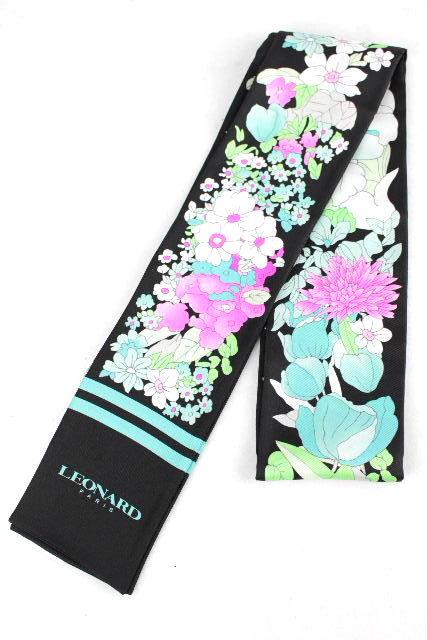 レオナール [ LEOMARD ] フラワー シルク リボン スカーフ ブラック 黒 レディース ベルト 花柄