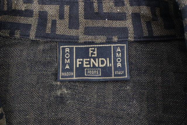 フェンディ[FENDI] ズッカ柄 ストレッチ シャツ ブラウン 茶色 長袖 レディース トップス