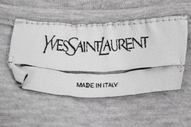 イヴサンローラン[YVESSAINTLAURENT] YSL ビッグロゴ Tシャツ グレー 半袖 SIZE[L] メンズ サンローラン トップス カットソー