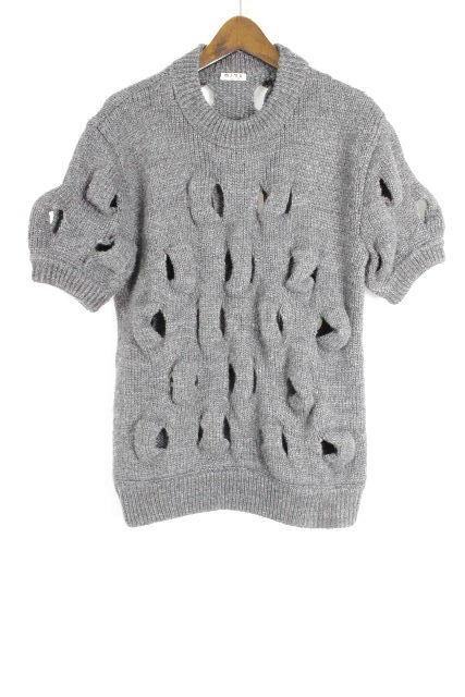 ミュウミュウ[MIUMIU] プルオーバー ニット セーター グレー 半袖 SIZE[40] レディース トップス