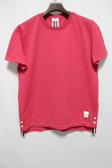 トムブラウン [ THOM BROWNE ] トリコロール 鹿の子 ポロシャツ ピンク 半袖 SIZE[1] メンズ トップス カットソー