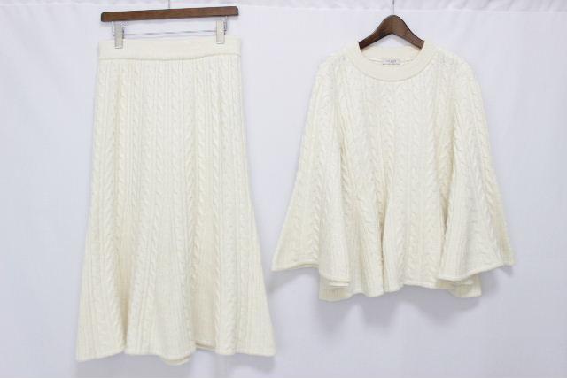 アドーア [ ADORE ] ケーブル編 ニット セットアップ オフホワイト SIZE[38] レディース プルオーバー セーター スカート
