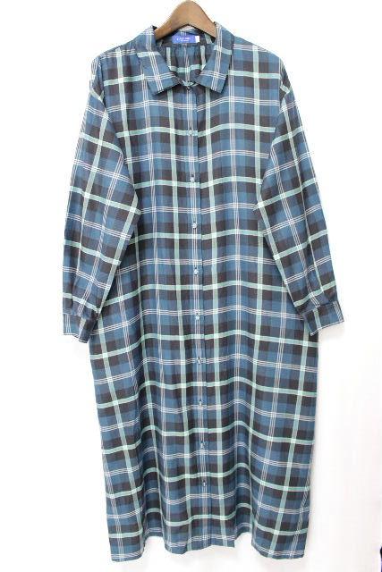 ブルーレーベルクレストブリッジ [ BLUELABEL ] ベルト チェック柄 シャツ ワンピース SIZE[38] レディース ロング ワンピース ワンピ