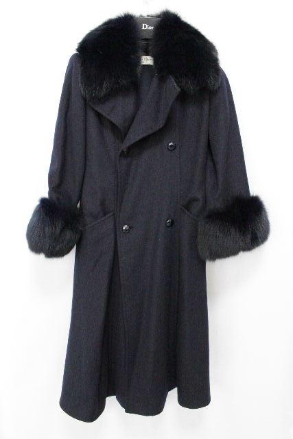 クリスチャンディオール [ ChristianDior ] フォックスファー フレアーコート ネイビー 紺色 レディース ディオール ロングコート コート