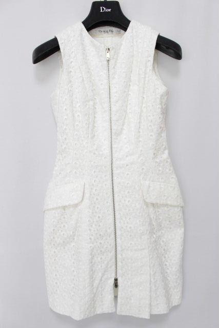 クリスチャンディオール [ Dior ] フラワー レース ワンピース ホワイト 白色 レディース ディオール ノースリーブ ワンピ