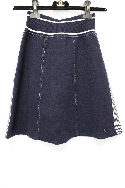 シャネル [ CHANEL ] 08C 夜間飛行 カシミヤ フレアースカート SIZE[38] レディース ボトムス スカート ネイビー 紺色