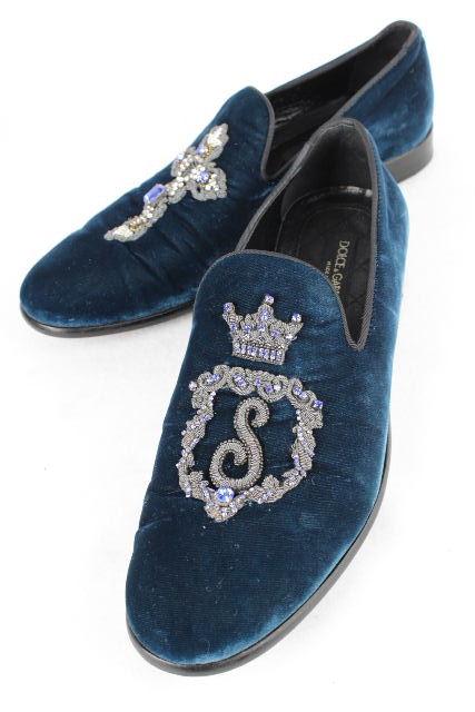 ドルチェ&ガッバーナ [ DOLCE&GABBANA ] ベロア オペラシューズ ブルー系 SIZE[8] メンズ ドルガバ スリップオンシューズ ドレスシューズ