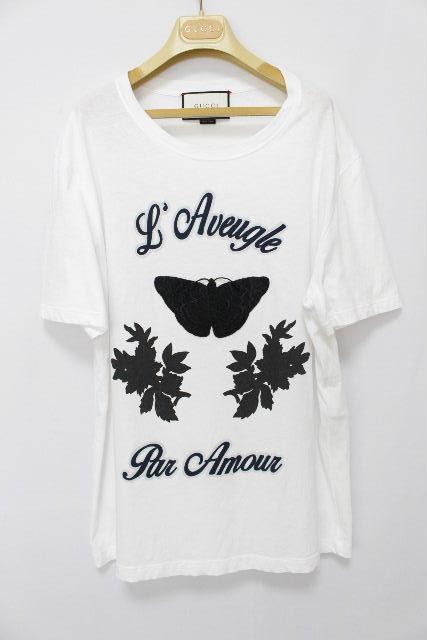 グッチ [ GUCCI ] バタフライ Tシャツ ホワイト 白 半袖 SIZE[L] メンズ トップス カットソー 蝶々