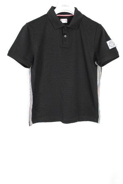 モンクレール×トムブラウン[ MONCLER ] トリコロール ワッペン ポロシャツ ブラック 半袖 SIZE[XS] メンズ トップス カットソー 半袖