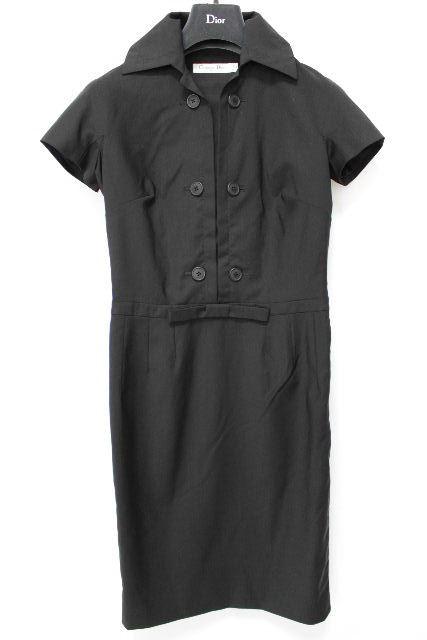 クリスチャンディオール [ Dior ] リボン ウール ワンピース ブラック 黒 レディース ディオール ワンピ