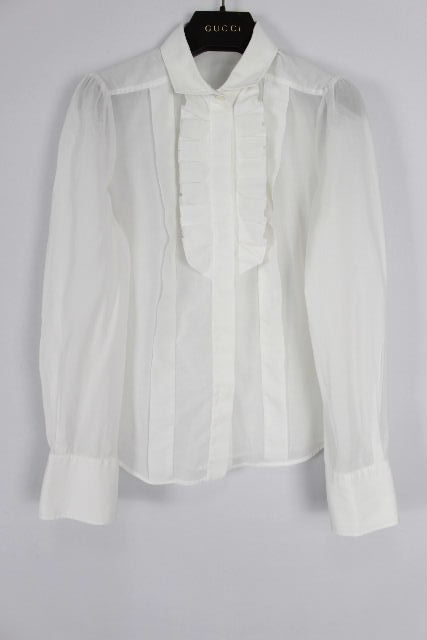 グッチ [ GUCCI ] フリル シャツ ブラウス ホワイト 白 長袖 SIZE[38] レディース トップス