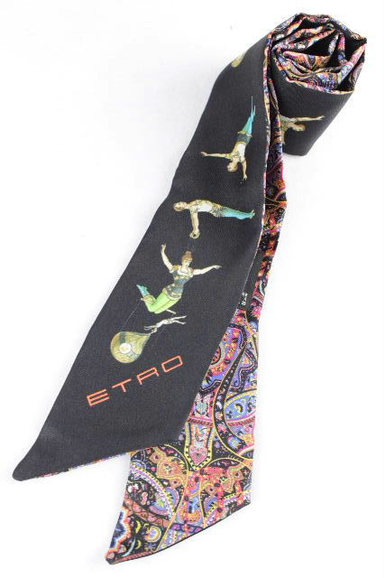 エトロ [ ETRO ] ペイズリー柄 シルク リボンスカーフ ★付属品完備★ ツイリー トゥイリー