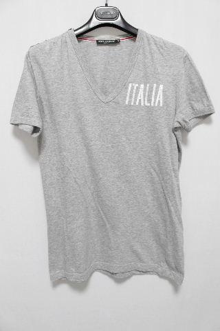 ドルチェ&ガッバーナ [ DOLCE&GABBANA ] ITALY Vネック カットソー グレー 半袖 SIZE[46] メンズ ドルガバ トップス Tシャツ D&G