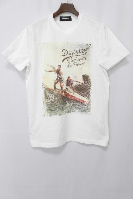 ディースクエアード [ DSQUARED2 ] サーフ プリント Tシャツ ホワイト 白 半袖 SIZE[L] メンズ ディースク トップス カットソー
