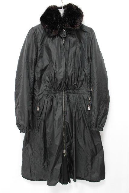 プラダスポーツ [ PRADA ] ファー ナイロン フレアー コート ブラック 黒 SIZE[40] レディース プラダ ロングコート アウター