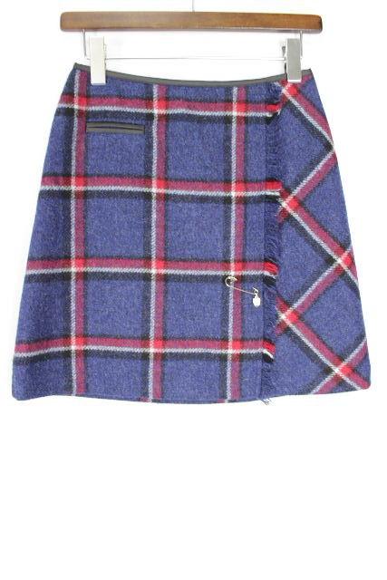 ブルーレーベル クレストブリッジ [ BLUE LABEL ] ブローチ ウール チェック柄 スカート SIZE[36] レディース ボトムス ブルーレーベル ミニスカート