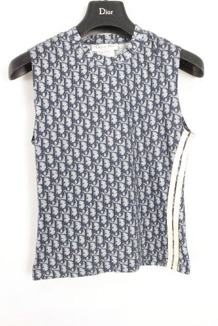 クリスチャンディオール [ Dior ] トロッター柄 ノースリーブ Tシャツ ネイビー レディース ディオール カットソー