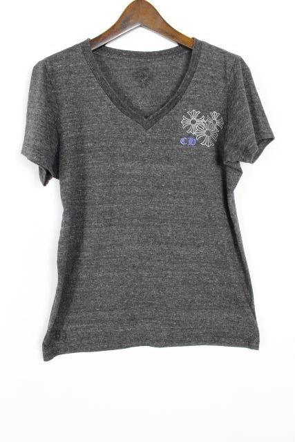 クロムハーツ [ CHROME HEARTS ] Vネック クロス Tシャツ グレー 半袖 SIZE[M] レディース クロム カットソー
