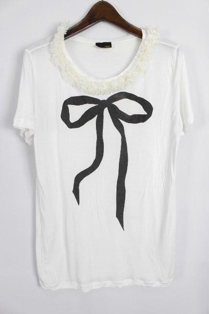 フェンディ [ FENDI ] ビッグリボン フリル カットソー ホワイト 白 半袖 SIZE[38] レディース トップス Tシャツ