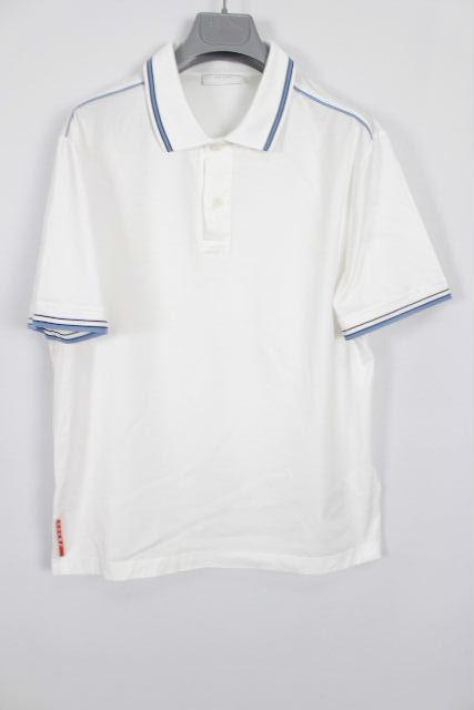 プラダ [ PRADA ] 2015 メンズ ポロシャツ ホワイト 白 半袖 SIZE[M] メンズ トップス カットソー Tシャツ