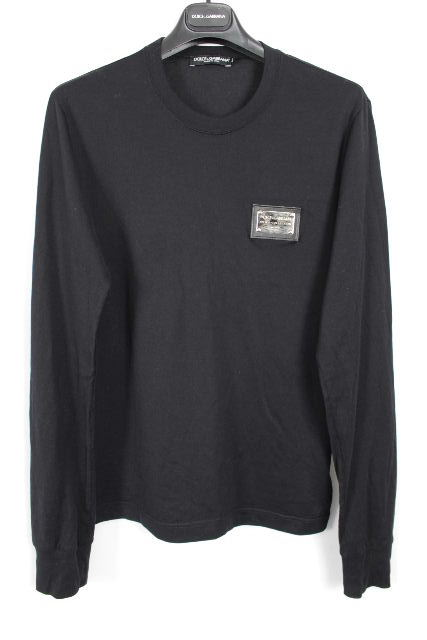ドルチェ&ガッバーナ [ DOLCE&GABBANA ] ロゴプレート ロンT ブラック 黒 SIZE[44] メンズ ドルガバ ロング Tシャツ カットソー 長袖