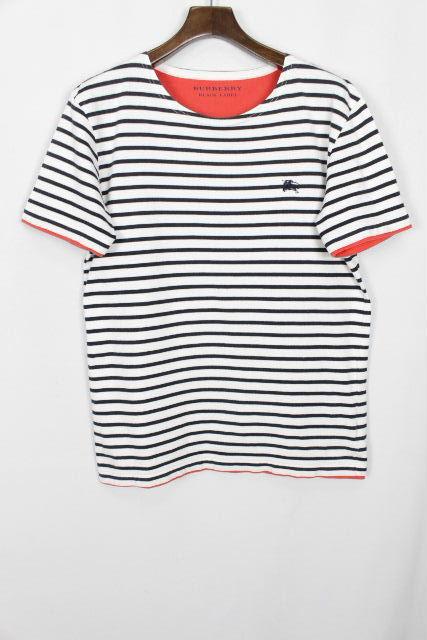 バーバリーブラックレーベル [ Burberry ] ホースマーク ボーダー Tシャツ ホワイト 白 半袖 SIZE[3] メンズ バーバリー カットソー