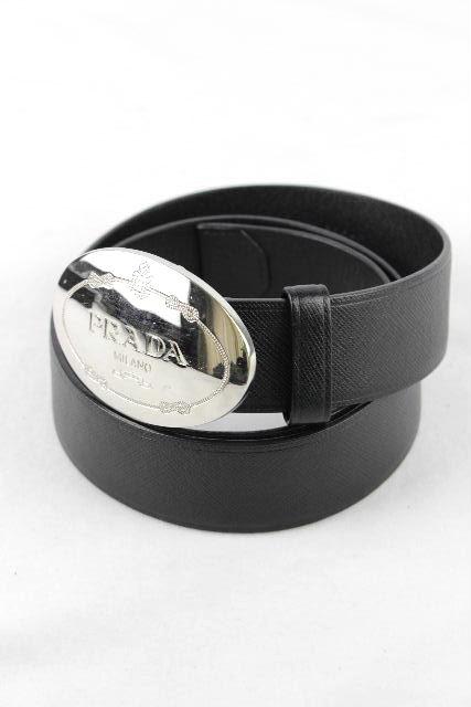 プラダ [ PRADA ] ロゴバックル レザーベルト ブラック 黒 2C 4637 SIZE[34/85] メンズ ベルト