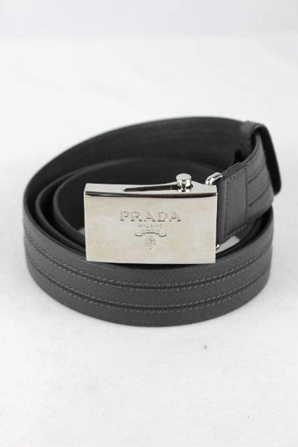 プラダ [ PRADA ] ロゴバックル GI レザー ガチャベルト グレー SIZE[FREE] メンズ シルバー金具 80cm 85cm 90cm 95cm 100cm