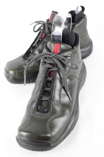 プラダスポーツ [ PRADA ] レザー ハイカット スニーカー カーキ SIZE[6.5] メンズ プラダ ブーツ