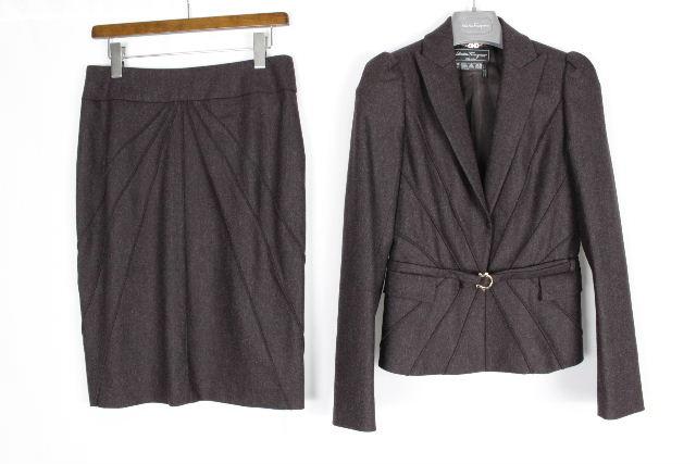 フェラガモ [ Ferragamo ] ガンチーニ ウール セットアップ スーツ SIZE[38 40] レディース ジャケット スカート